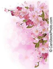 Vertical card with gentle pink sakura flowers