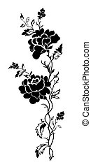 Vertical floral pattern rose, tatto