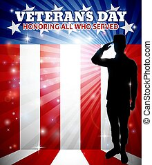 Veterans Day American Saluting Soldier