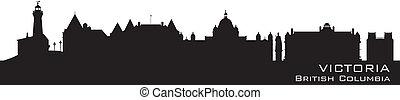 Victoria, Canada skyline. Detailed silhouette. Vector illustration