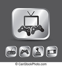 video game icons over gray background. vector illustration