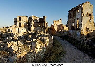 Belchite village destroyed in a bombing during the Spanish Civil War