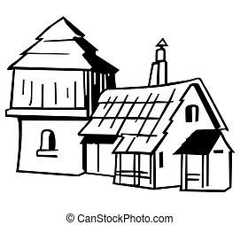 Village house - Black and White Cartoon Illustration, Vector