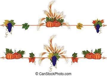 vine, ears and pumpkins