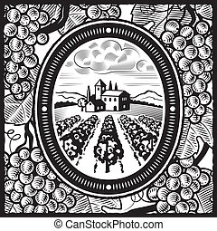 Retro vineyard in woodcut style. Black and white vector illustration with clipping mask.