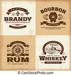 A set of fully editable vintage alcohol labels in woodcut style. EPS10 vector illustration.