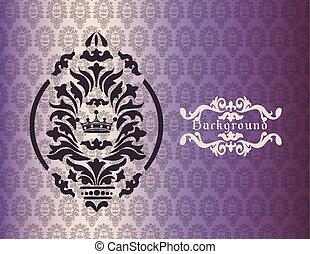 Vintage background with damask ornaments