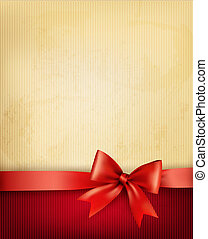 Vintage background with red gift bow and ribbon on old paper. Vector illustration.