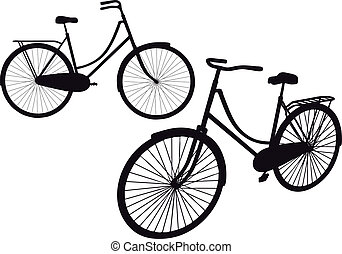 vintage bicycle silhouettes, vector illustration