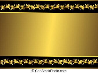 Abstract black and golden floral vintage frame (vector)