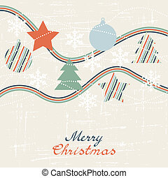 Vintage card with Christmas balls. Vector illustration.