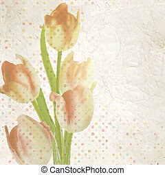 Vintage card with tulips and copyspace. EPS 10