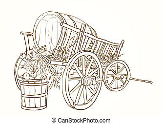 vintage cart with a barrel of wine and a bucket