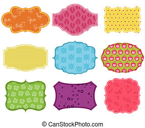 Vintage Colorful Design Elements for Scrapbook - Tags and Frames in vector