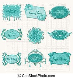 Vintage Design Elements for Scrapbook - Old Tags and Frames - in vector