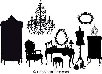 vintage dressing room, vector