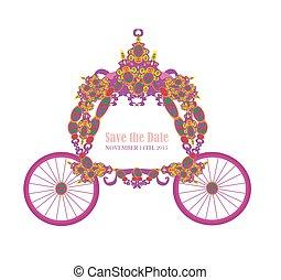 vintage floral carriage invitation