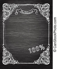 Vintage frame on the chalkboard Decorative retro banner. Can be used for banner, invitation, wedding card, scrapbooking and others. Royal vector design element.