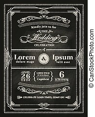 vintage frame wedding invitation card on black chalkboard