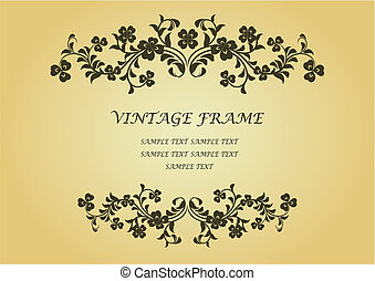 Vintage frame with clover in victorian style for design as a background