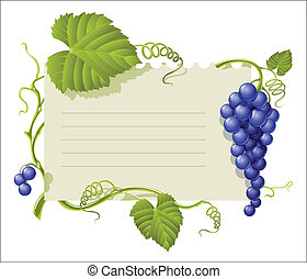 vintage frame with cluster grapes and green leaf