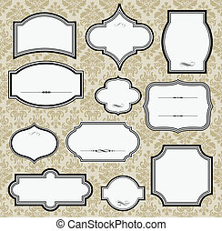 Vector frames. Damask pattern included in file. Separate layers for easy editing.