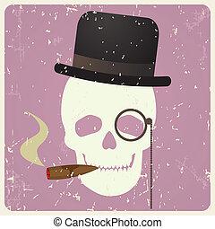 Vintage gentleman skull, vector