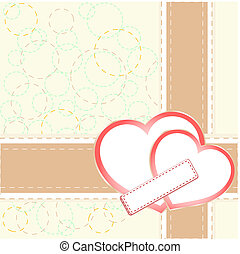 Vintage gift card with heart shaped space for text