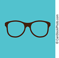 Illustration vintage glasses icon isolated on blue background - vector