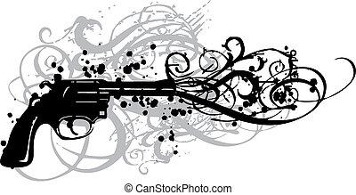 vintage gun with grungy swirls, vector