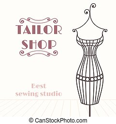 Vintage iron mannequin. Tailor shop background with place for your text