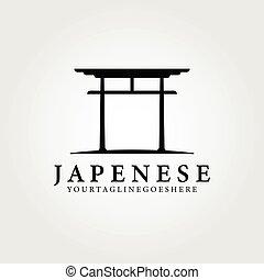 vintage japanese icon logo vector illustration , simple creative design, traditional japan culture
