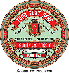 Vector Label Art based on antique original. Colors are easily editable.