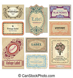 set of ornate vintage labels, scalable and editable vector illustrations;