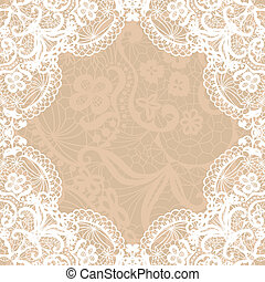 Vector black lace on texture, template.