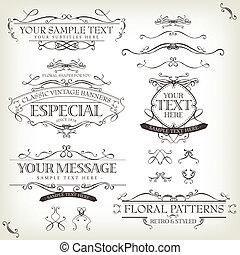 Illustration of a set of retro labels, frames, sketched banners, floral patterns, ribbons, and graphic design elements on vintage old paper background