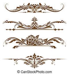 illustration of set of vintage design elements for page border