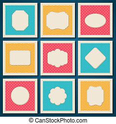 Vintage patterned cards templates set.