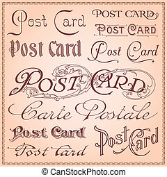 Vintage style postcard letterings vector illustration