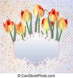 Vintage postcard with a beautiful tulips. EPS 10