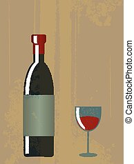 Vintage poster of vino bottle and glass with grunge