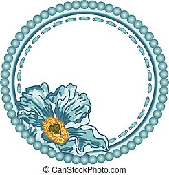Vintage round frame with blue flower