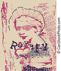 vintage rust woman newspaper style poster
