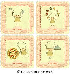 Vintage Set of Menu Card Designs with chefs