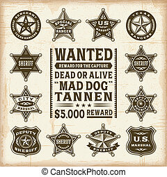 A set of fully editable vintage sheriff, marshal and ranger badges in woodcut style. EPS10 vector illustration.