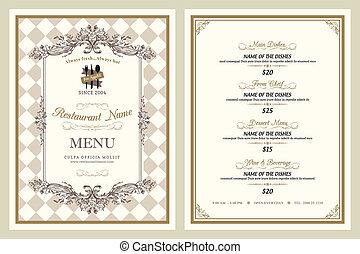 Vintage style restaurant menu design