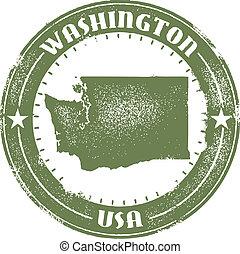 Vintage style Washington State Stamp.