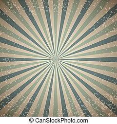 Vintage sunburst vector background with blue rays.