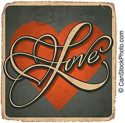 vintage valentine card (vector)
