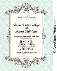 Vintage Wedding invitation border and frame